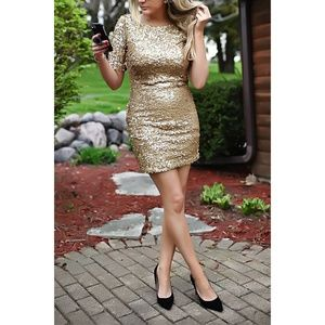 Ark & Co Gold Sequin 3/4 Sleeve Dress Large